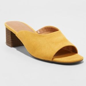 Mustard Yellow Blocked Heeled Slides Mules
